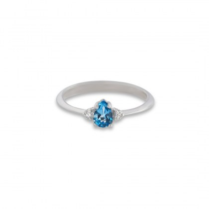 whitegold-solitaire-ring-blue topaz-pear-shape